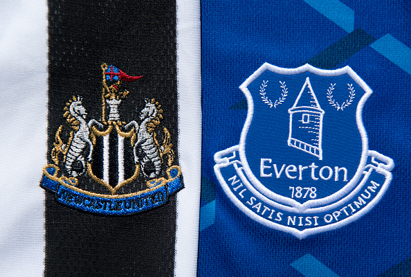 The Newcastle United and Everton Club Badges