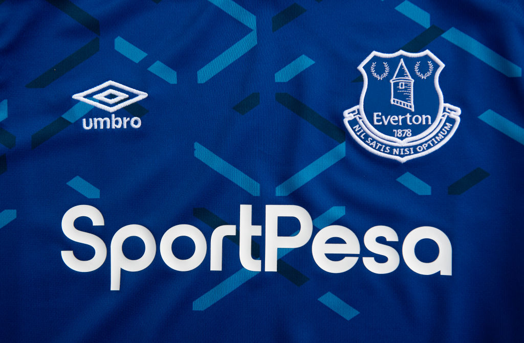 The Everton Club Badge with Sponsors Umbro and SportPesa
